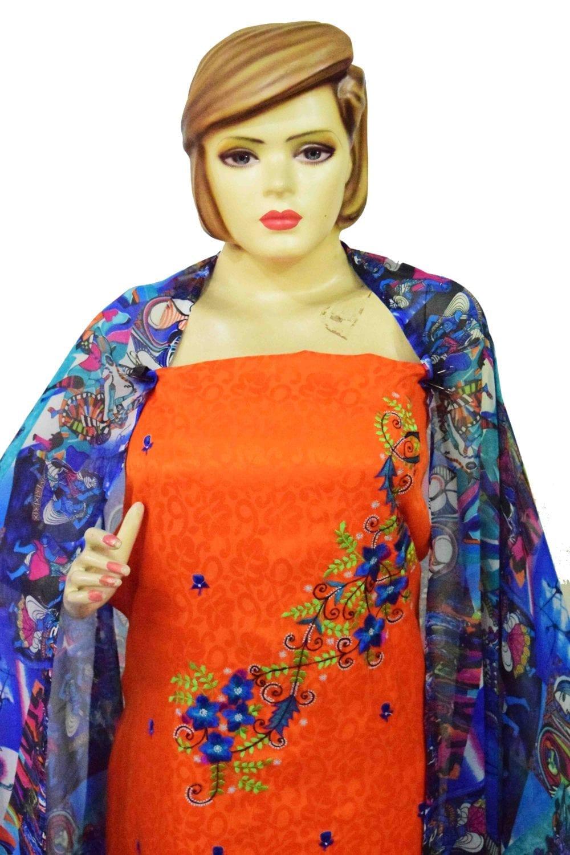 Designer Embroidery Georgette Salwar Dupatta with Cotton Kameez  RM337 2