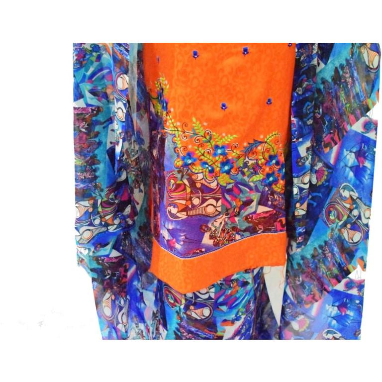 Designer Embroidery Georgette Salwar Dupatta with Cotton Kameez  RM337