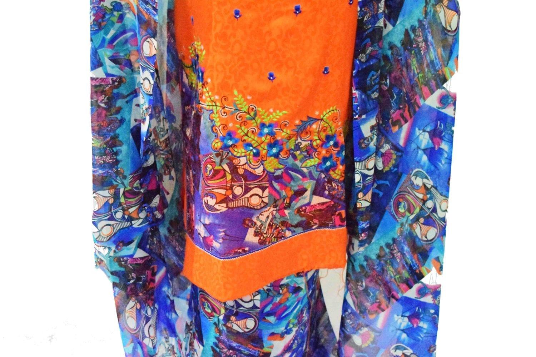 Designer Embroidery Georgette Salwar Dupatta with Cotton Kameez  RM337 3