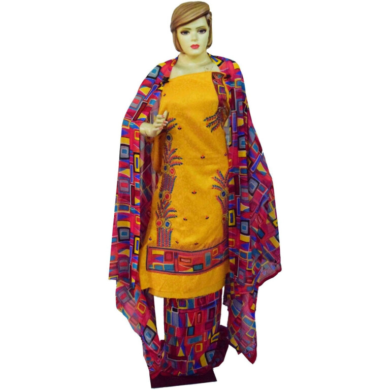 Designer Embroidery Georgette Salwar Dupatta with Cotton Kameez  RM338