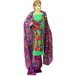 Designer Embroidery Georgette Salwar Dupatta with Cotton Kameez  RM340