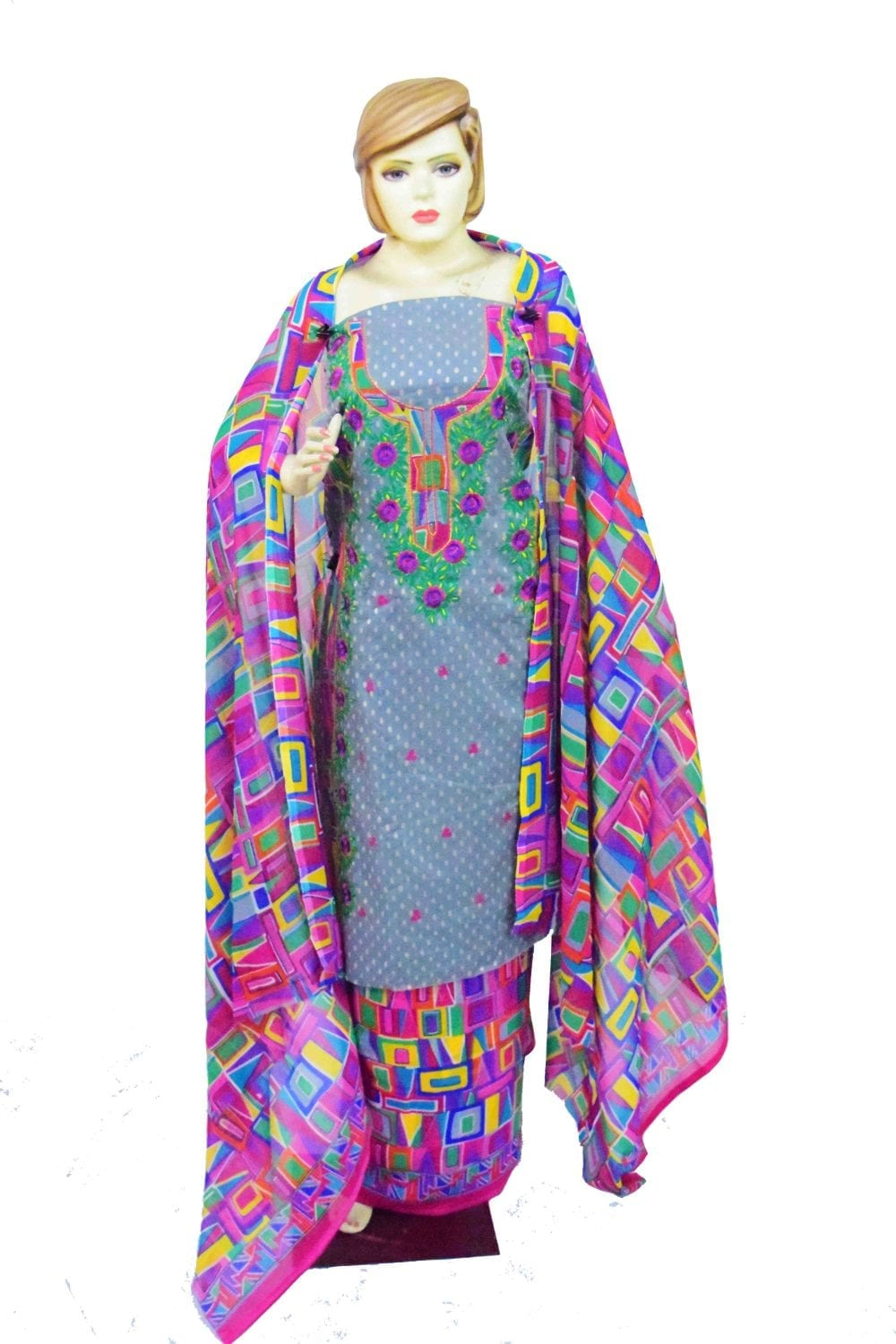 Designer Embroidery Georgette Salwar Dupatta with Cotton Kameez  RM341 1