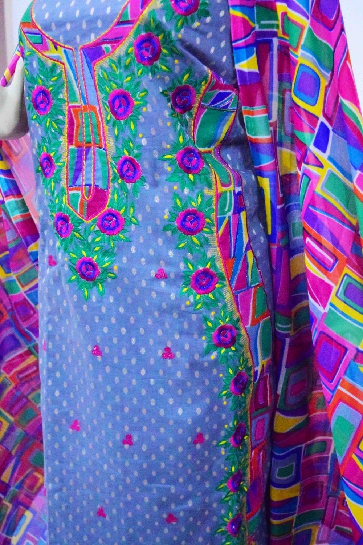 Designer Embroidery Georgette Salwar Dupatta with Cotton Kameez RM341 2