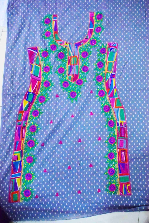 Designer Embroidery Georgette Salwar Dupatta with Cotton Kameez RM341 3