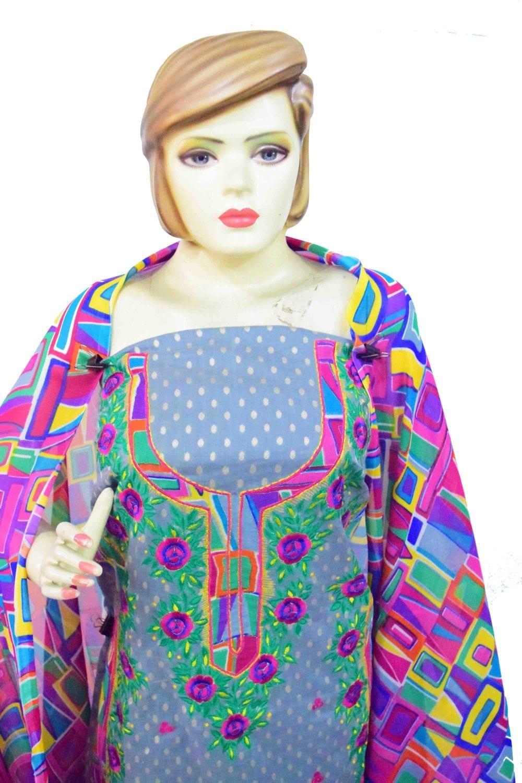 Designer Embroidery Georgette Salwar Dupatta with Cotton Kameez RM341 4