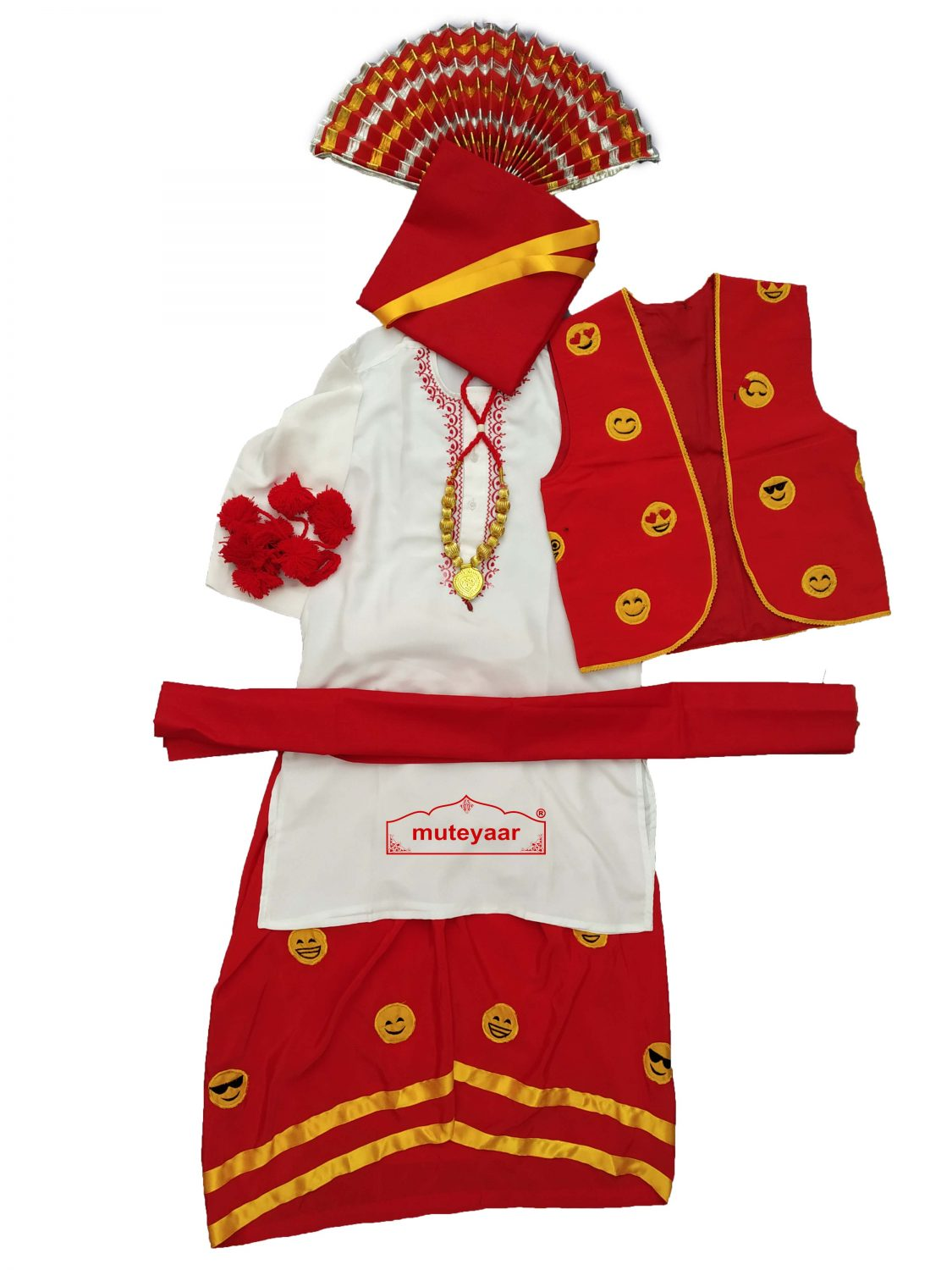 Embroidered Boys Bhangra Costume Dance Dress Outfit with Smiley Design SMB 1