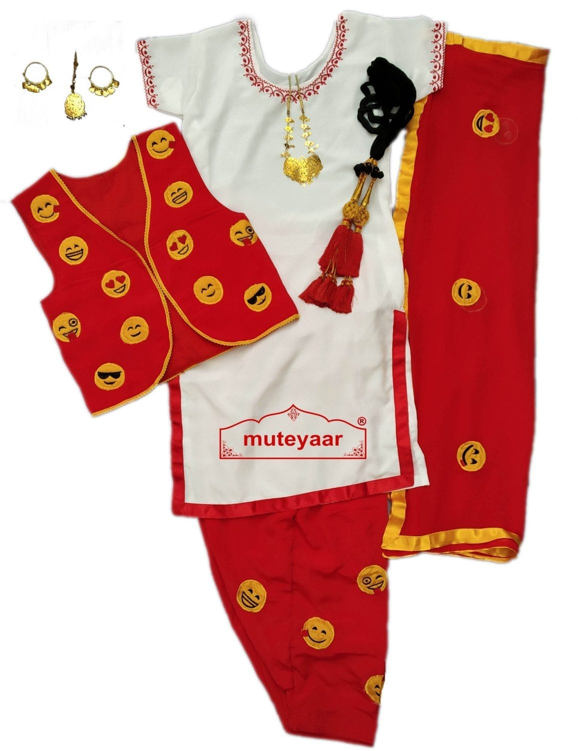Female Bhangra Costume Dance Dress with Smiley Design Embroidery SMG 1