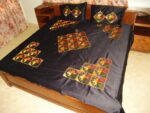 Black Glazed cotton Phulkari Hand Embr Bed Cover set Z0030