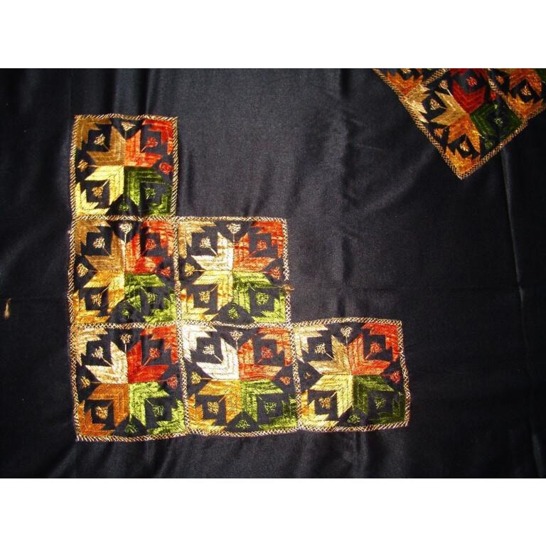 Black Glazed cotton Phulkari Hand Embr Bed Cover set Z0030