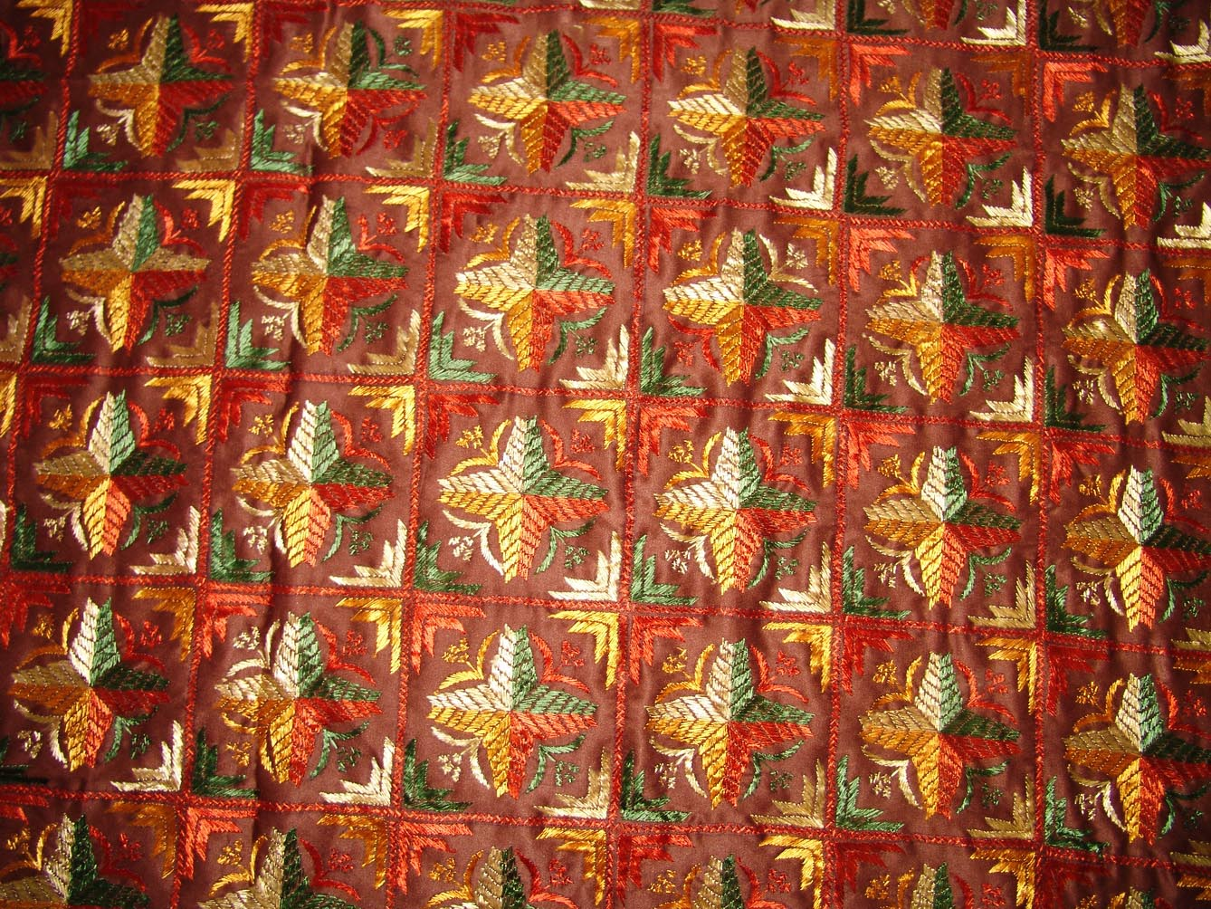 Brown Jaal Phulkari Bed Cover set Hand Embroidered Bedsheet Z0034 3