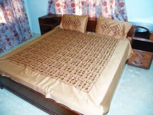 Golden Phulkari Bed Cover Set Jaal Hand Embroidery Z0037