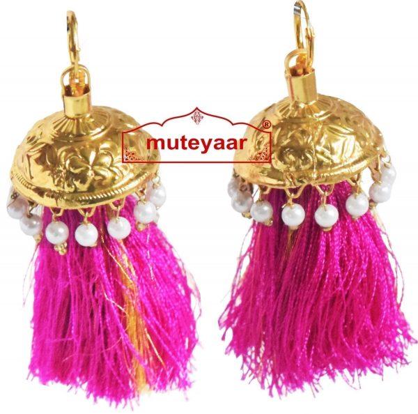 Lotan handicraft jewelery earring set with 12 pairs of tassle phumans