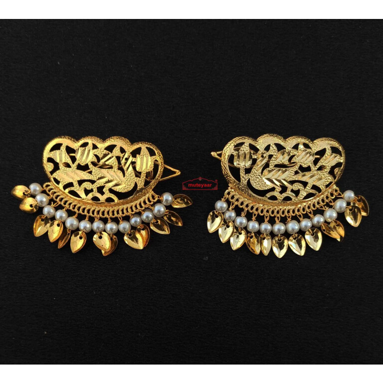 Gold Polished Party Wear Hair Clips J0463