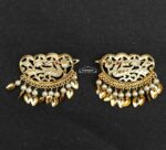 Gold Polished Party Wear Hair Clips Pair with patti and moti J0463