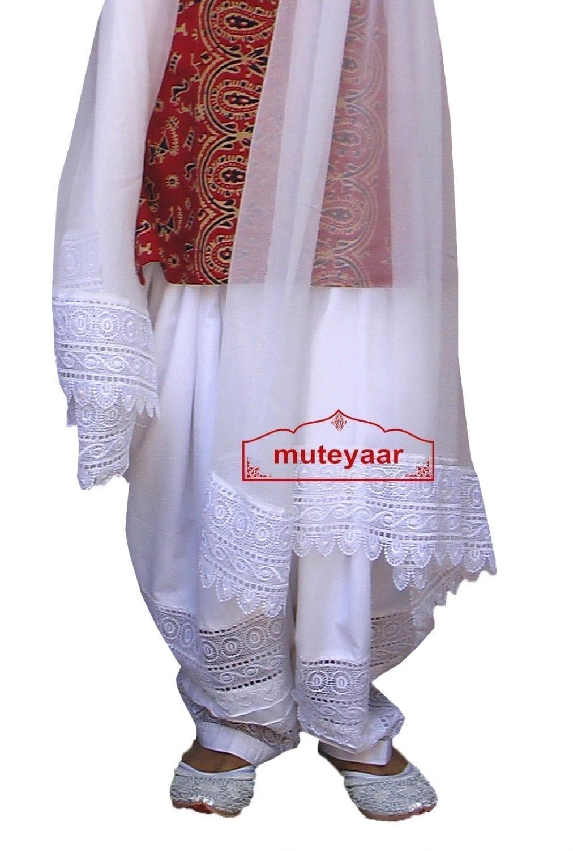 Wholesale LOT of 10 Broad Lace Work Patiala Salwar + Dupatta set 2