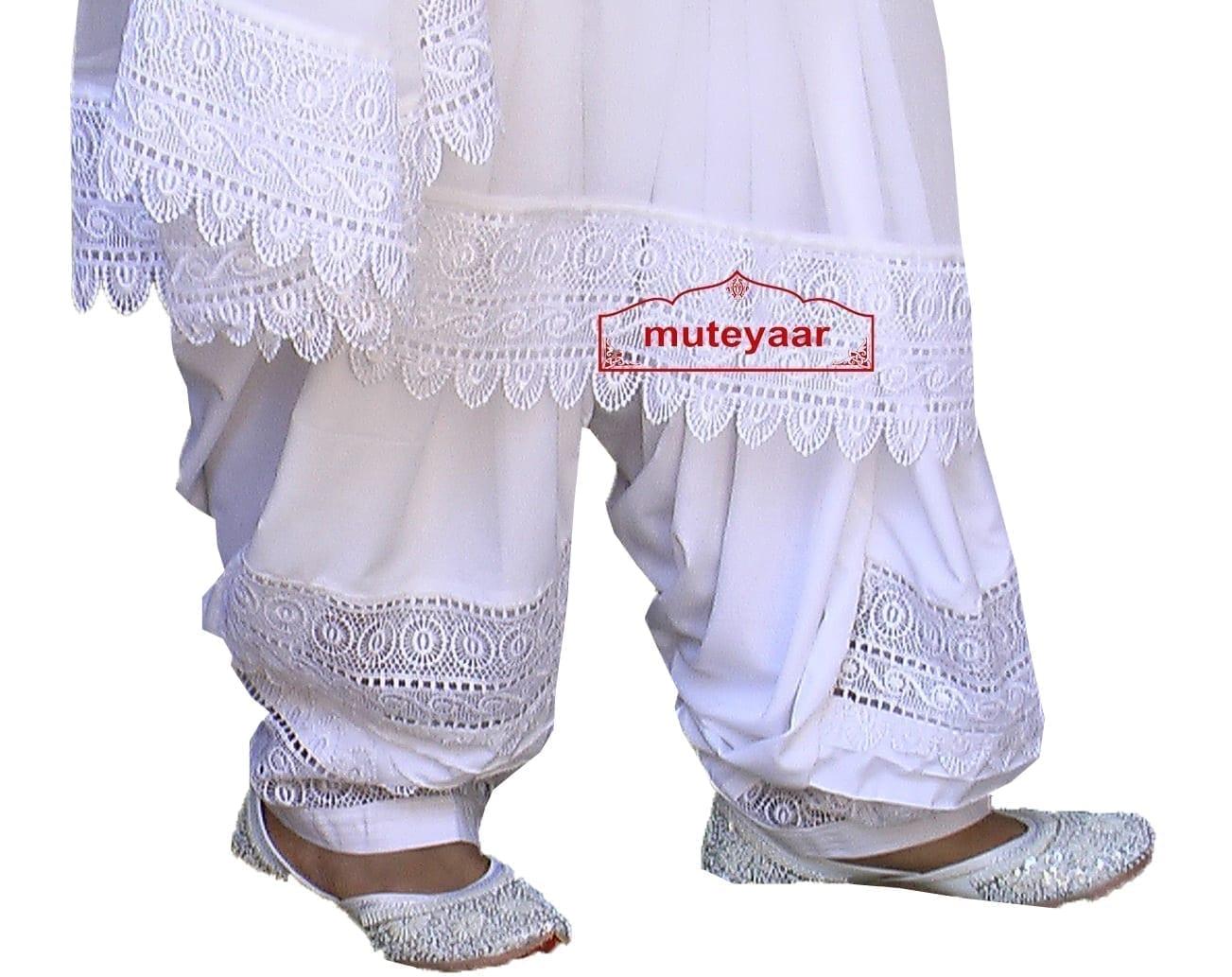 Wholesale LOT of 10 Broad Lace Work Patiala Salwar + Dupatta set 3