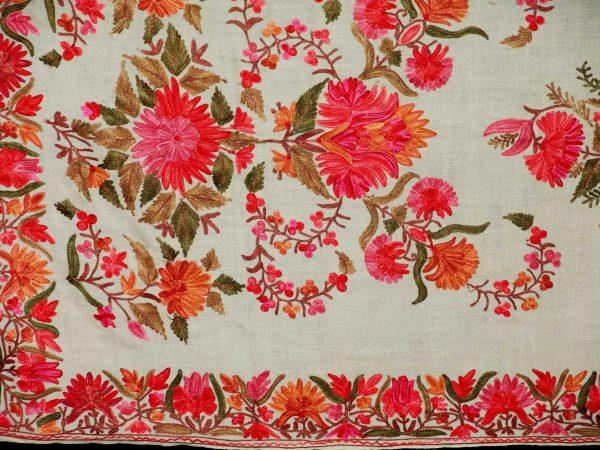 White Kashmiri Pashmina Heavy embroidered stole C0137