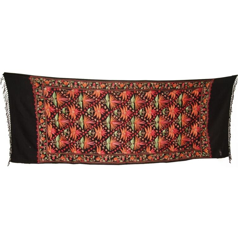 Black Kashmiri Pashmina Heavy embroidered stole C0141