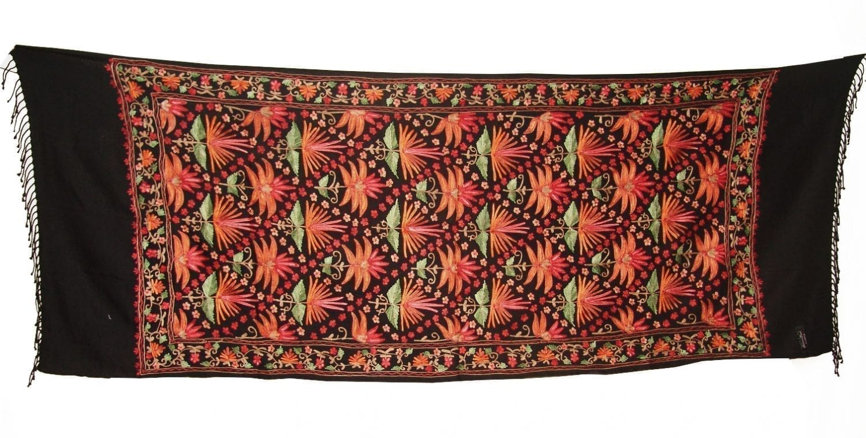 Black Kashmiri Pashmina Heavy embroidered stole C0141 1