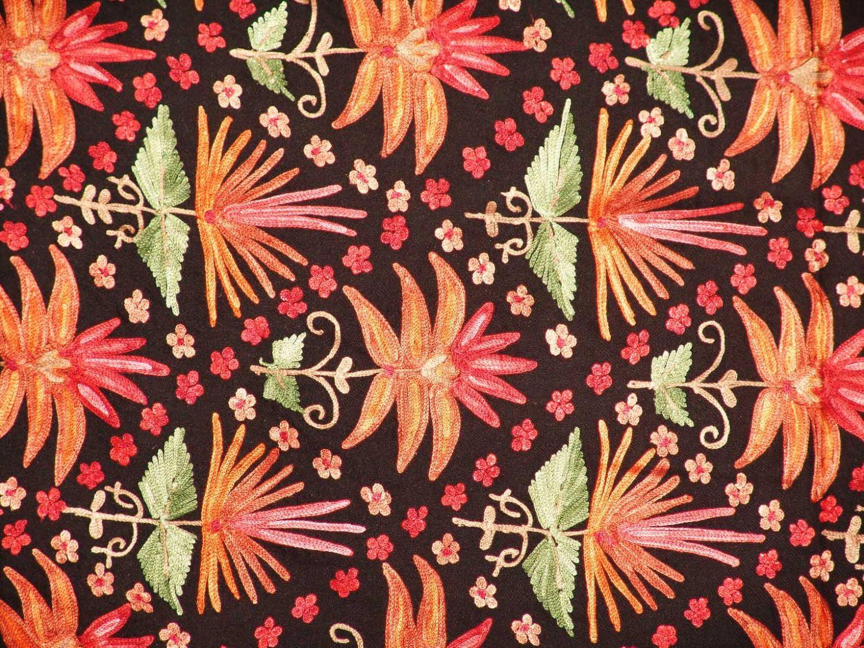 Black Kashmiri Pashmina Heavy embroidered stole C0141 2
