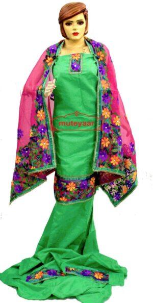 Party Wear Jaam Cotton Hand Embroidered Salwar kameez stole suit set F0764