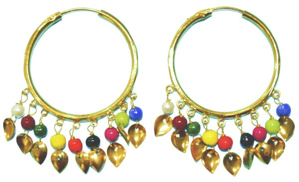 Traditional Punjabi Gold Polished Ear Rings Baliyaan set with Multicolour Beads J0214