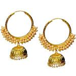 Pearl Beads Gold Polished Traditional Punjabi Earrings Bali set J0461