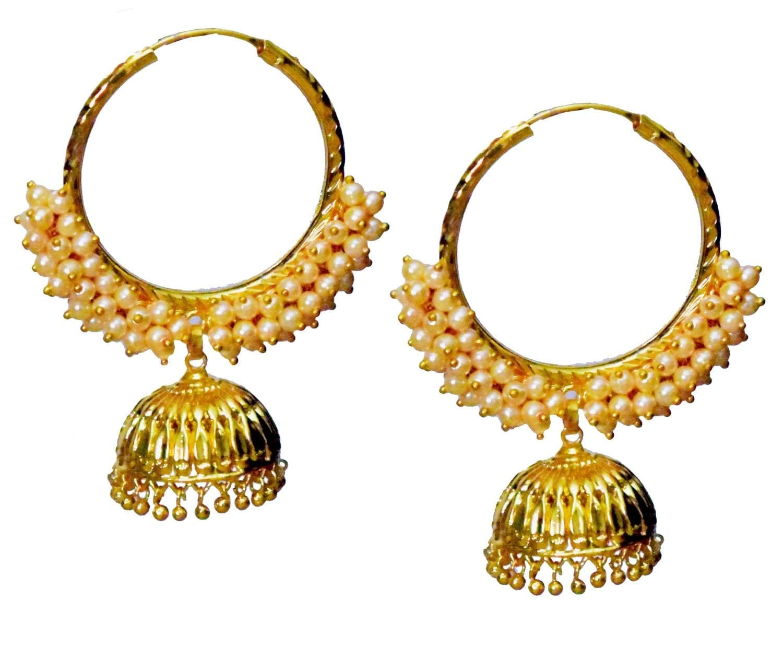 Pearl Beads Gold Polished Traditional Punjabi Earrings Bali set J0461 1