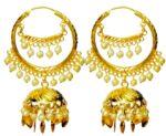 Bali Set Gold Polished Traditional Punjabi Earrings J0462