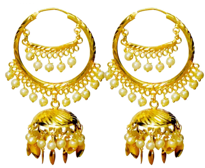 Bali Set Gold Polished Traditional Punjabi Earrings J0462 1