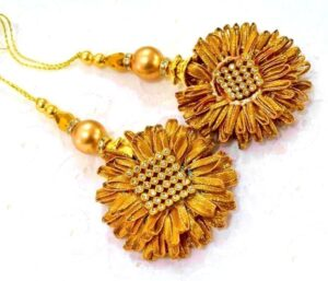 Antique Gota Patti Latkans Dangles pair (2 inch Dia.) for blouse, saree , dupatta, kurti, curtains LK063