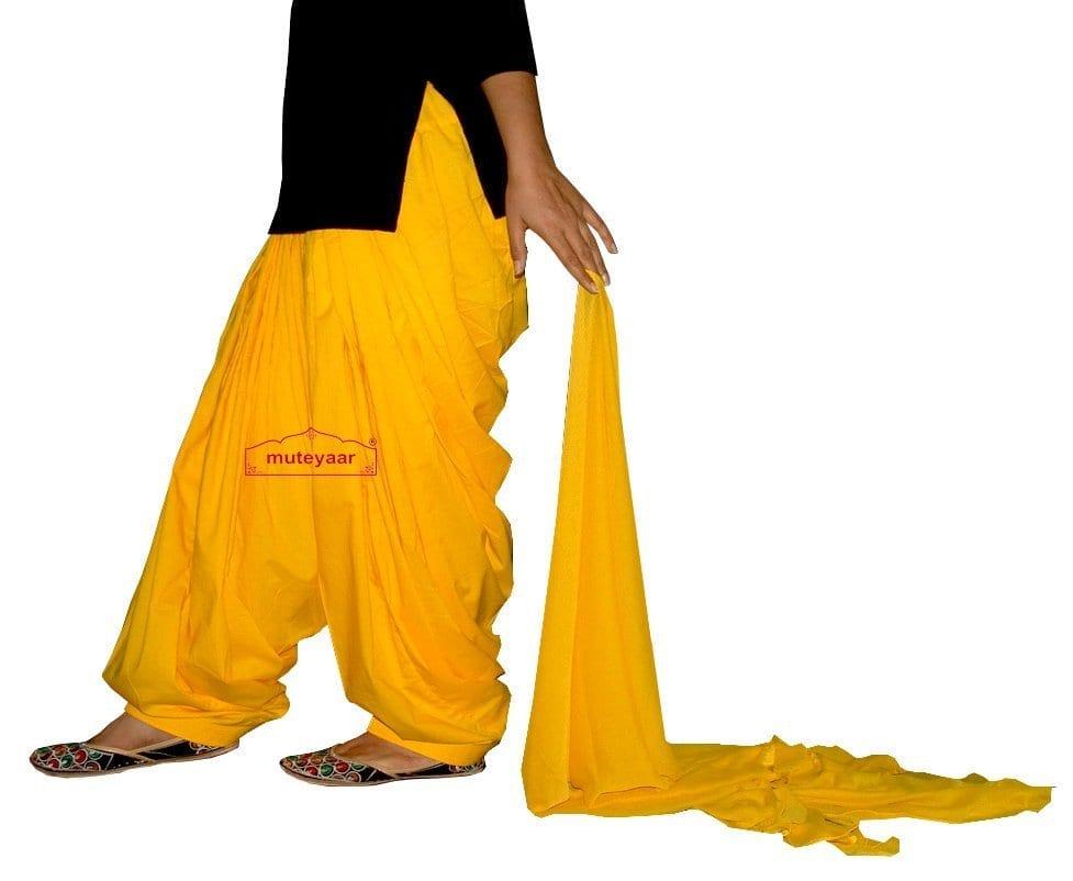 Pure Cotton Yellow Patiala Salwar + matching Chiffon dupatta set 1