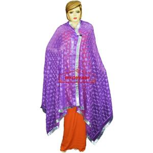 JAAL  PHULKARI Dupatta M/C Embroidered Party wear FAUX CHIFFON Chunni (PHD)