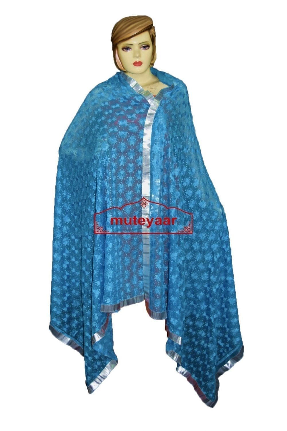 JAAL  PHULKARI Dupatta M/C Embroidered Party wear FAUX CHIFFON Chunni (PHD) 4