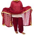 Maroon PHULKARI Patiala Salwar with matching Dupatta PHS13