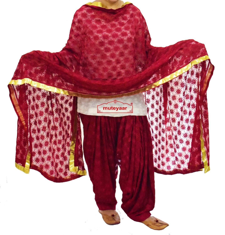 Maroon PHULKARI Patiala Salwar with matching Dupatta PHS13 1