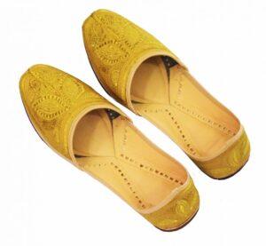 Golden Handmade Leather Punjabi Jutti Shoes for MEN PJ9729
