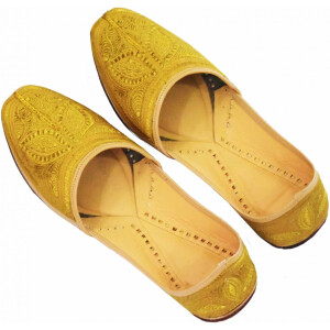 Golden Handmade Leather Punjabi Jutti Shoes for MEN PJ9729