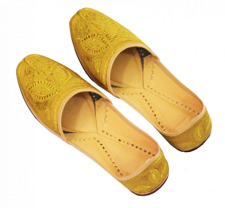 Golden Handmade Leather Punjabi Jutti Shoes for MEN PJ9729 1