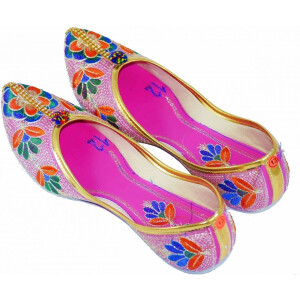 Multicolour Embroidered Desi Punjabi Jutti Party wear Belly Shoes PJ9771