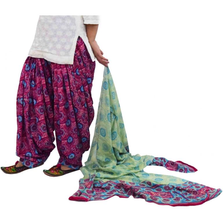 100% Pure Cotton FULL Patiala Salwar + matching cotton printed dupatta PSD181