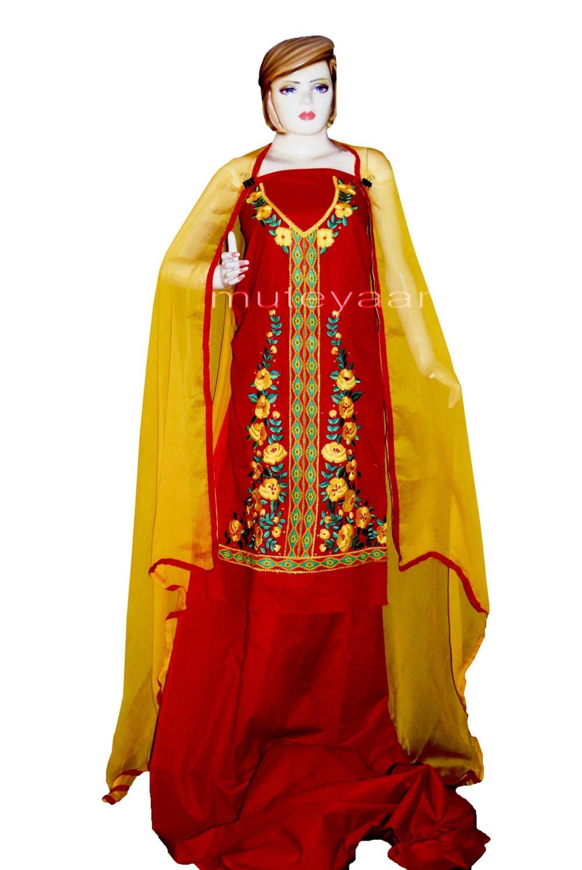 Designer Embroidery 100% cotton Salwar Suit PURE CHIFFON Dupatta RM296 1