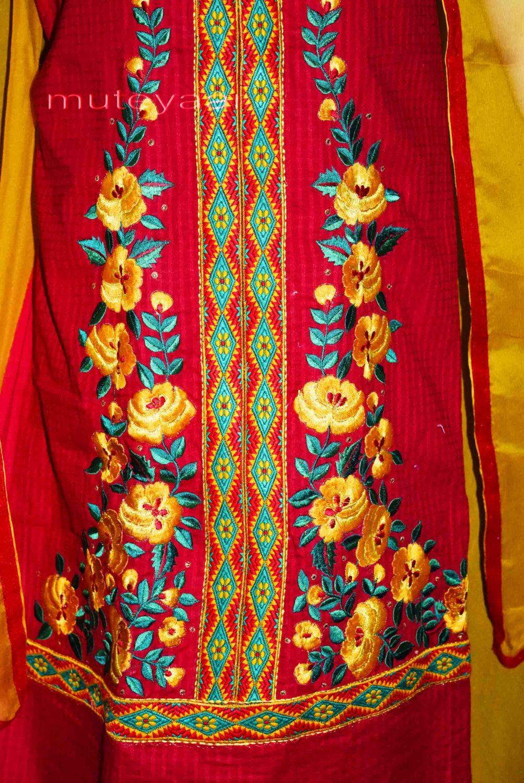 Designer Embroidery 100% cotton Salwar Suit PURE CHIFFON Dupatta RM296 2