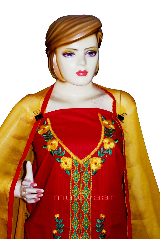 Designer Embroidery 100% cotton Salwar Suit PURE CHIFFON Dupatta RM296 3
