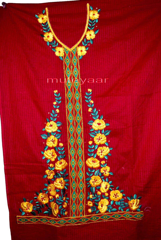 Designer Embroidery 100% cotton Salwar Suit PURE CHIFFON Dupatta RM296 4
