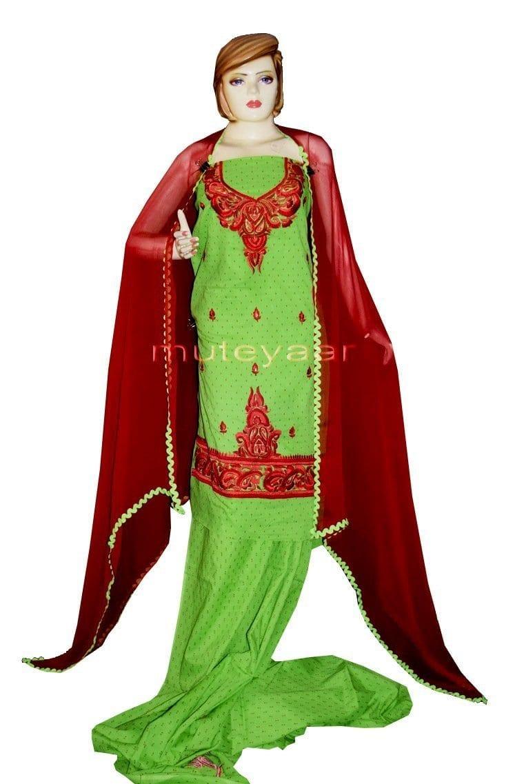 100% Cotton Salwar Suit Designer Embroidery PURE CHIFFON Dupatta RM303 1