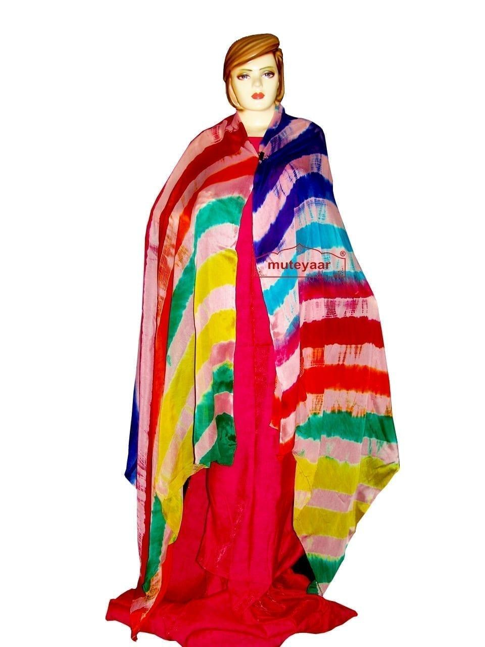 Hand Dyed Leheria Satrangi Dupatta Chunni with 7 colours 1