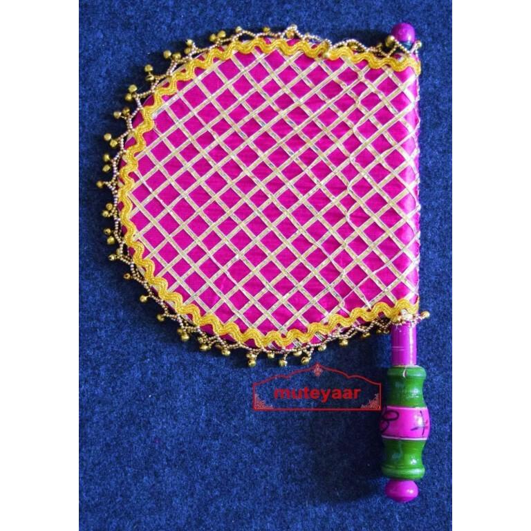 Traditional Punjabi Phulkari Ghungroo Pakhi Hand Fan size 16 inch length T0200