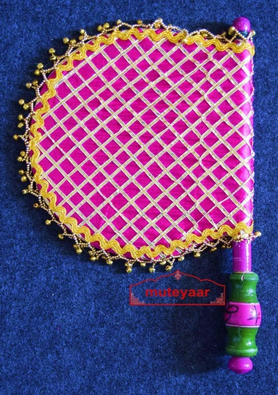 Traditional Punjabi Phulkari Ghungroo Pakhi Hand Fan size 16 inch length T0200 1