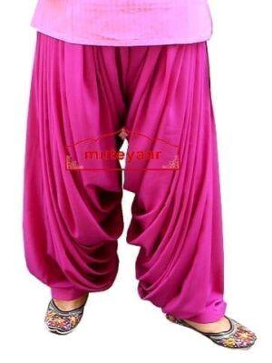 Magenta Super Heavy Maharani Patiala Salwar of Crepe Fabric